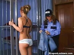 Girl gets arrested, searched, and gets fucked by lesbian cop
