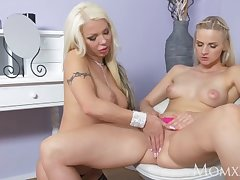 MOM British MILF in stockings facesitting on younger firm blonde lesbian