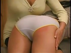 Cute girls receive OTK spanking whilst wearing different knickers