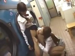 Lesbian Japanese in Public Train and Laundry